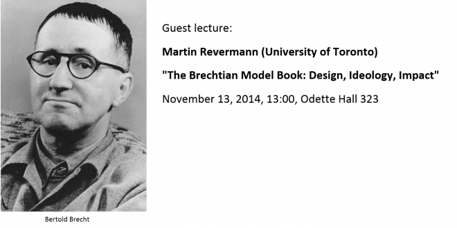 "Guest lecture, November 13: <br>Martin Revermann: ""The Brechtian Model Book: Design, Ideology, Impact"""