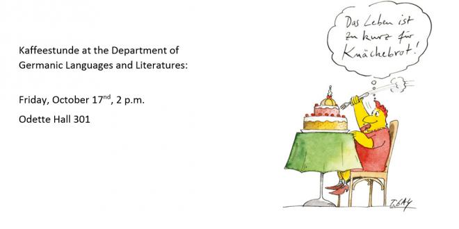Kaffeestunde: Friday, October 17, at 2 p.m.