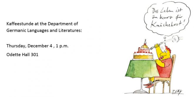 Kaffeestunde: Thursday, December 4, at 1 p.m.