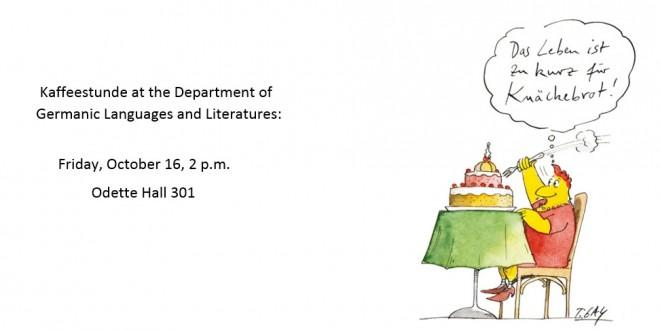 Kaffeestunde: Friday, October 16 at 2 p.m.