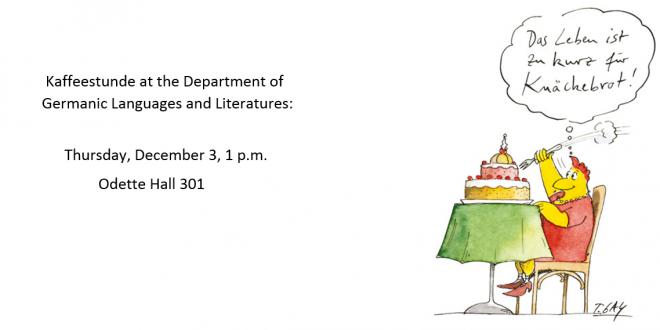 Kaffeestunde: Thursday, December 3 at 1 p.m.