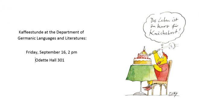 Kaffeestunde: September 16, 2 pm