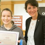 Miruna Dragomir (Westdale High School), winner in the advanced category, with Tanja Matuszis, representing the Consulate General of the Federal Republic of Germany.
