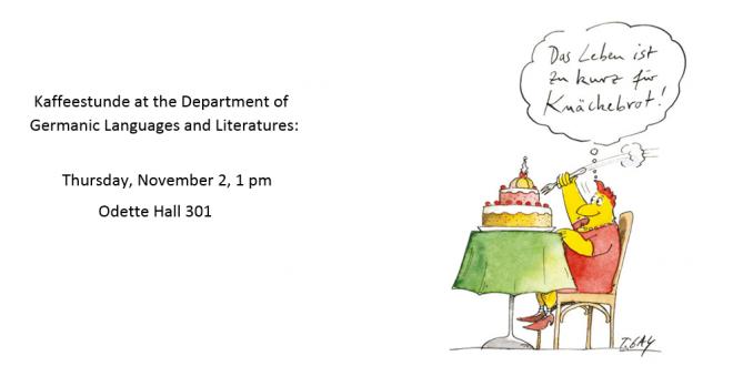 Kaffeestunde: Thursday, November 2 at 1 p.m.