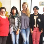 From left to right: Prof. Hang-Sun Kim, UTS German teacher Nicola Townend; student interns Stefana Gargova, Karolin Rabey, Shirin Oghatian, Kat Heinz; Natasha Jamal, Centre for Community Partnerships. Not shown: iPRAKTIKUM leads Helena Juenger and Stefan Soldovieri