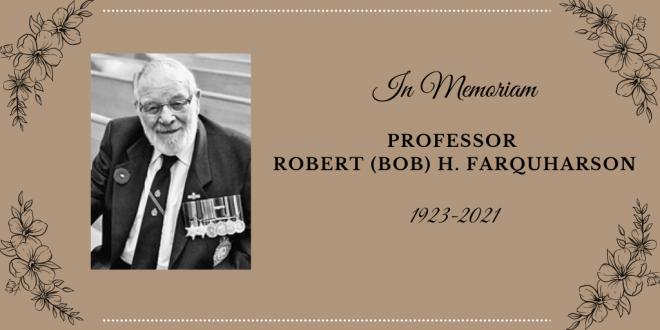 In Memoriam – Professor Robert (Bob) H. Farquharson